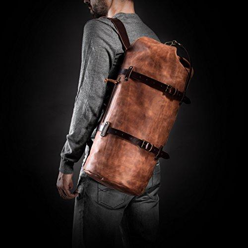 Duffel Pack by Kruk Garage Duffel bag Travel bag Leather men's bag Cognac Brown Leather duffle bag Weekender Men's gift Luggage
