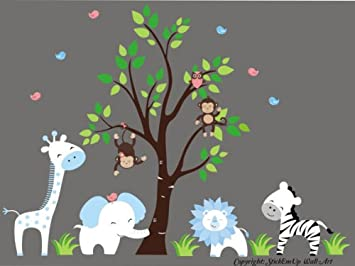 Amazoncom Baby Boys Nursery Decor Blue And White Animals