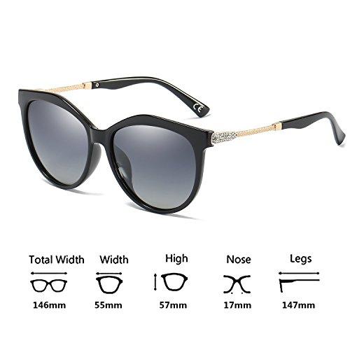 VeBrellen Lens Oversized Polarizadas Grey Frame UV400 De Protect Black para Moda Sol Mujeres Gafas FgFqwZr