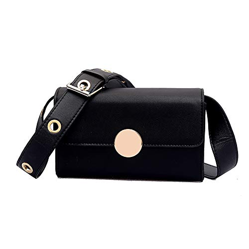 Shoulder Bag for Women Simple Diagonal Solid Square Package Chic Messenger Bag,Rakkiss Black