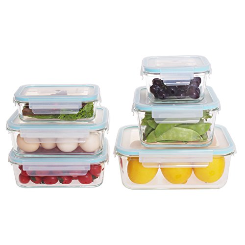 Dish Microwave Safe Storage Lid (Glass Food Storage Containers with Locking Lids 12 Piece Set,BPA Free Food Container Set, Microwave,Oven,Freezer,Dishwasher Safe)