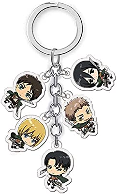 2 Pack Mini Office Depot Attack on Titan keyring with 5 Chibi Figures Pendants Anime Metal Keychain