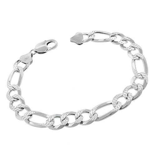 Sterling Silver Italian 10.5mm Figaro Link Diamond-Cut ITProLux Solid 925 Bracelet Chain 9