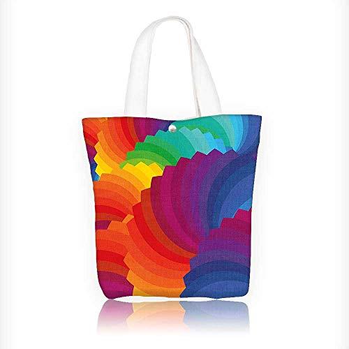 Diaper Dash Messenger Bag (Ladies canvas tote bag Gradient Dash Sea Shell Inspired Dimension Palette Stripes Artisan reusable shopping bag zipper handbag Print Design W16.5xH14xD7 INCH)
