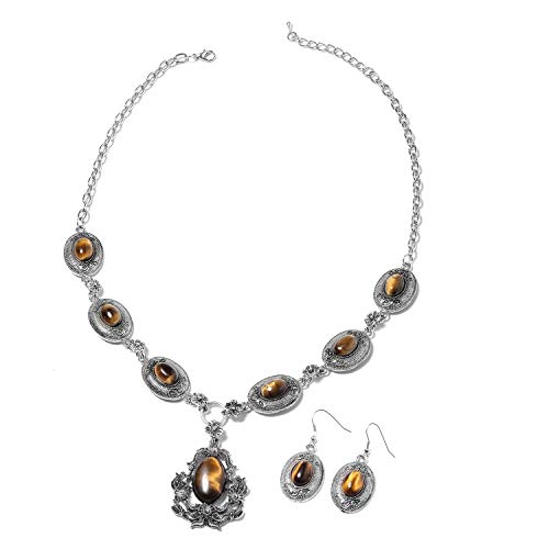 Shop LC Delivering Joy Earrings Necklace Set Oval Tigers Eye Black Oxidized Silvertone & Stainless Steel Jewelry for Women Size ()