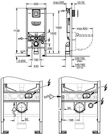 WC 3-6 l 1,13m Grohe Rapid SLX Ref 39603000 Cisterna empotrada