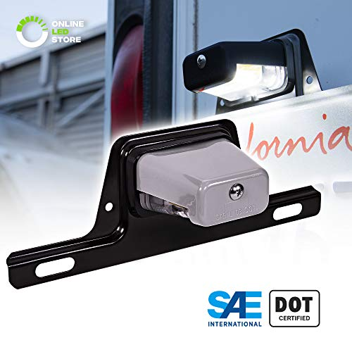 LED Trailer License Plate Lights w/Bracket [SAE/DOT Certified] [Waterproof] [Heavy Duty] License Tag Lights for Trailers, RV, Trucks & Boats - Gray Housing