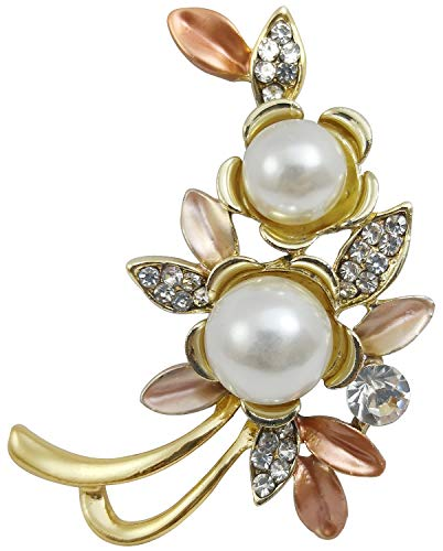 (Bijoux De Ja Gold Tone Enamel Rhinestone Faux Pearl Protea Flower Design Brooch Pin (Orange))