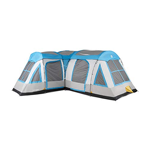 Tahoe Gear Gateway 12-Person Deluxe Cabin Family Camping Tent, Blue and Gray