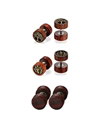 3 Pairs Natural Wood Stainless Steel Fake Gauges Earrings,Life Tree,Lion Head Charm Cheater Faux Ear Plugs Gauges Illusion Screw,Hypoallergenic