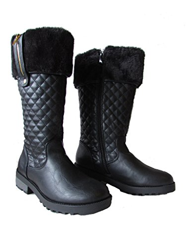 Daytona Leather Boot (Forever Daytona-34 Womens Deco Diamond Quilted Knee High Equestrian Style Snow Boots Black 10)