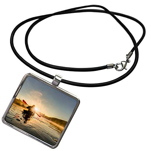 3dRose Danita Delimont - Kayaking - A Kayaker Paddles in Sunlit Early Morning Mist on a Canadian Lake. - Necklace with Rectangle Pendant (ncl_313027_1)