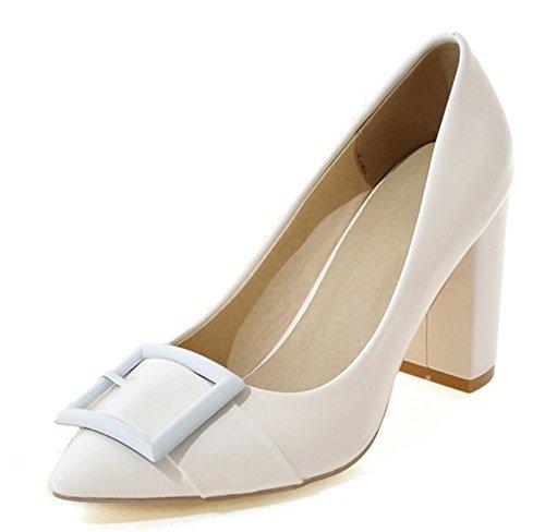 Confortable Pointu Blanc Femme Escarpins Bloc Talon Aisun Bout 5qFwT4t