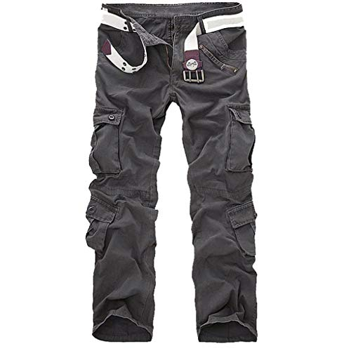 ANJUNIE Men's Fashion Casual Cotton Multi-Pocket Outdoors Work Trouser Cargo Long -