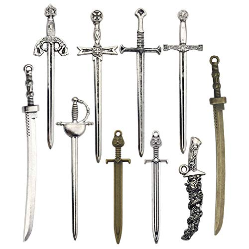 iloveDIYbeads 10pcs Mixed Craft Supplies Antique Silver Bronze Long Swords Knife Charms Pendants for Crafting, Jewelry Findings Making Accessory for DIY Necklace Bracelet M150 ()