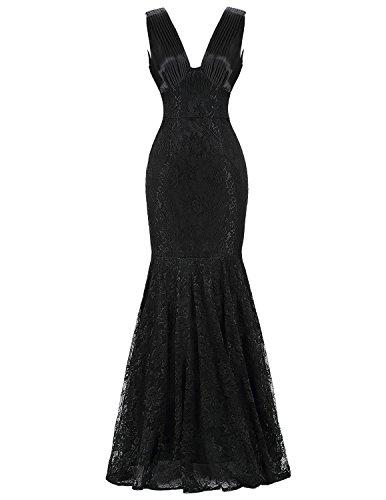 Cou Fanciest Femmes V Robes De Bal Sirène 2016 Robes De Soirée En Dentelle Noire