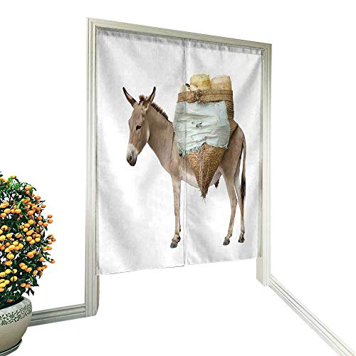 "fengruiyanjing Linen Cotton Door Curtain Donkey Carrying Supplies in Front of a White Background Noren Doorway Curtain Tapestry 36"" W x 60"" L"