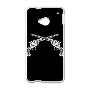 HTC One M7 Cell Phone Case White Rusty Old Guns QOV Back DIY Phone Case