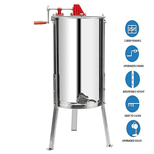 VINGLI Upgraded 2 Frame Honey Extractor Separator,304 Food Grade Stainless Steel Honeycomb Spinner Drum Manual Crank With Adjustable Height Stands,Beekeeping Pro Extraction Apiary Centrifuge Equipment