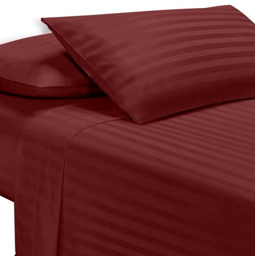 Exotic Bedware 1800 Series Brushed Microfiber 4 PC Attached Waterbed Sheet (With Pole Attachements) King Size - Stripe Burgundy ()