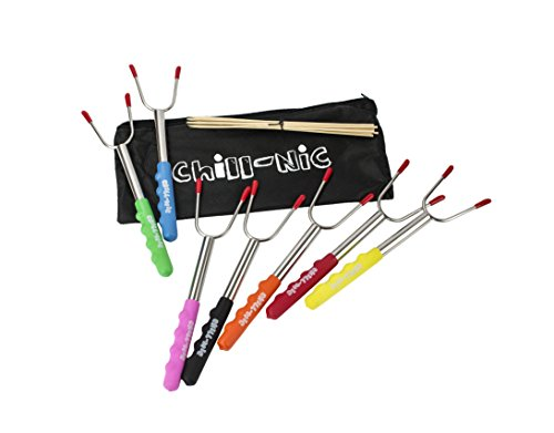 Chill - Nic BBQ Forks Marshmallow Roasting Sticks 7 units 7 colors !!! Campfire, Fire Pit, Camping, and Hiking Accessories by Chill - Nic