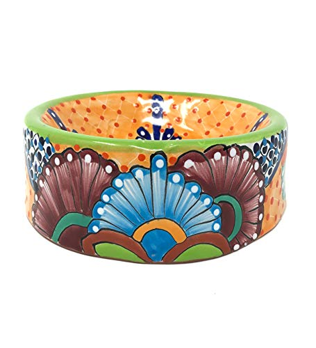 Mexican Talavera Pottery 9 inch Round Hand Painted Dog Pet Bowl