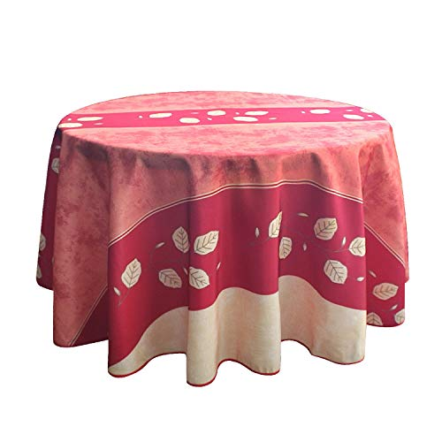FBTS Prime Tablecloth Round 71×71 inch Yellow Leaf Pattern Water Resistant and Stain Resistant Table Cover