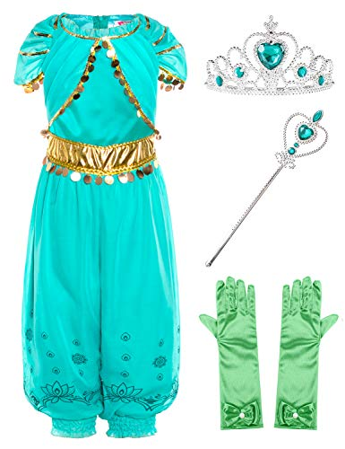 Joy Join Princess Jasmine Costume Outfit for Toddle Girls Birthday Halloween Party with Gloves,Crown,Wand Accessories 2t 3t -