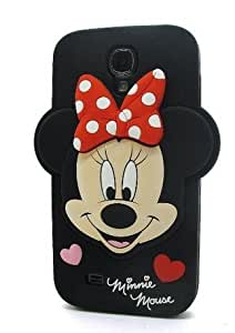 HELPYOU Black Samsung i9500 Cute 3D Cartoon Minnie Mouse Soft Silicone Case Skin Protective Cover for Samsung Galaxy S4 IV i9500