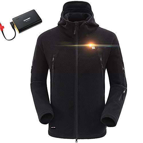 DEWBU Men's Full-Zip Polar Fleece Heated Hoodie with 6600mAh USB Battery Pack DB-517 (Black, Large) - 12 Months Warranty