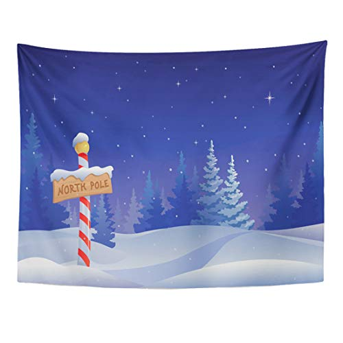 Emvency Tapestry 60 x 50 Inches Blue Scene Christmas with North Pole Sign Cartoon Landscape Snow Winter Snowy Forest Tree Home Decor Tapestries Wall Hangings Art for Living Room Bedroom Dorm