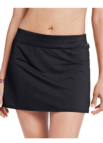 Damen Bikini Strand Rock Strandrock Baderock Bikinihose Bikini-Rock Schwarz XL
