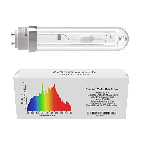 iGrowtek CMH 315W 4200K Grow Light Bulb, CMH 315 Grow Bulb,High Par Full Spectrum,Ceramic Metal Halide Grow Lamp