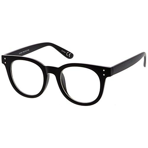 sunglassLA - Classic Horn Rimmed Eyeglasses With Rivet Accent Wide Arms Clear Lens 48mm (Matte Black / - Rimmed Glasses Wide
