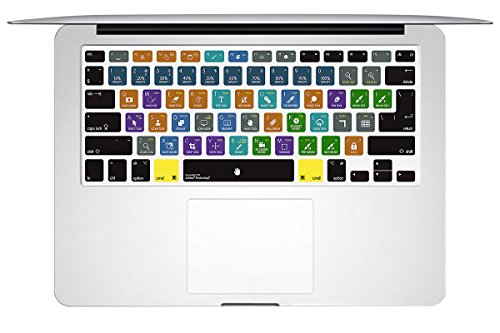 HRH Adobe Photoshop PS Hotkey Shortcuts Keyboard Cover TPU Skin for MacBook Air 13 and MacBook Pro 13 15 17 (with or w/Out Retina,Not Fit 2016 MacBook Pro 13 15 with/Without Touch Bar) US/EU Both