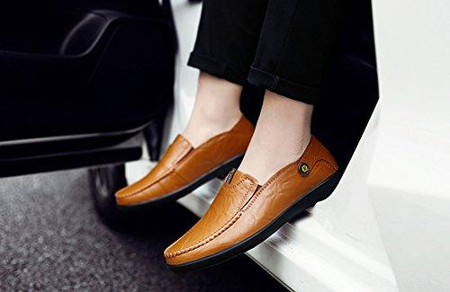 Cuero Zapatos Mano de Gran Zapatos de Nuevos Zapatos los Tamaño Hombres Primavera de Zapatos Mocasines Otoño Guisantes y Slip 2018 de a de Verano EU Zapatos Hechos Ons Casuales Naranja Size New Conducción Uqw6fT6