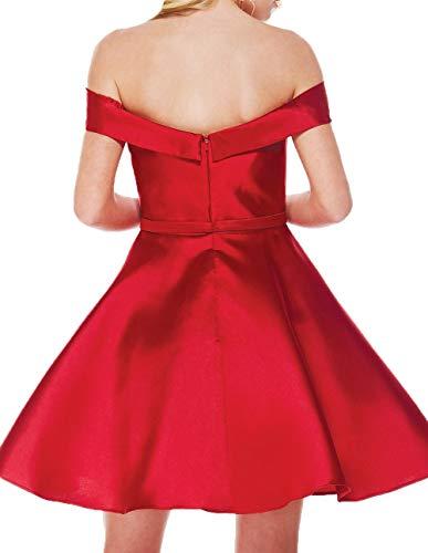 Charmant Damen Brautjungfernkleider Rock A Partykleider Linie Kurz Abendkleider Violett Einfach Satin Knielang Herzausschnitt qSSPdWxrwI