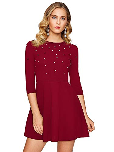 Floerns Women's Beaded Fit and Flare Short Skater Dress Red L