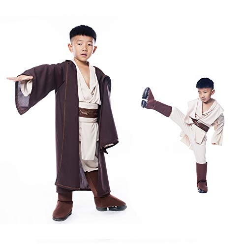 YAHUIPEIUS Child Jedi Cosplay Costume Including Robe Tunic Belt Pants Shoes Covers (S-Height 95-120cm, 1)