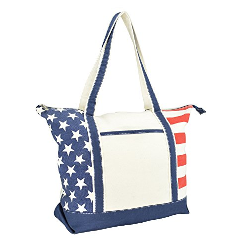 DALIX Signature Flag Stars Stripes Canvas Tote Shopping Bags Vote Plain