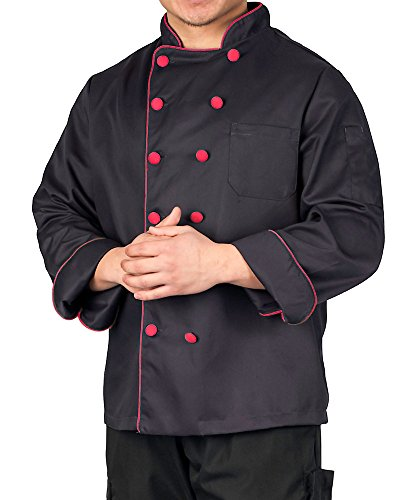 Executive Chef Coat with Contrast Piping and Buttons, Black with Red Accent, M - Executive Chefs Jacket