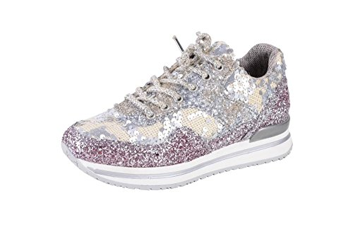 White Beige Sneaker Silver 2Star Gold Shoes Beaded Pink 35 Women's IwBnqFS