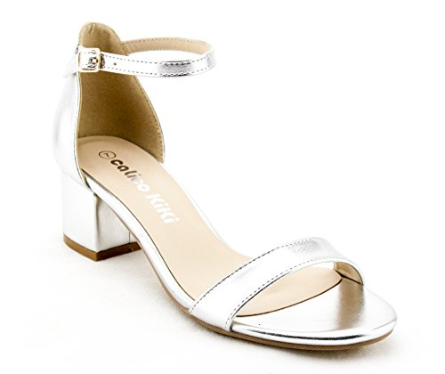 CALICO KIKI ELISHA-CK01 Women's Buckle Ankle Strap Low Block Heel Open Toe Heeled Sandals (10 US, Silver ()