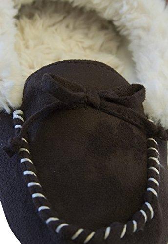 ... Isotoner Kvinners Micro Hilary Baugen Detalj Pels Trimmet Moccasin Mørk  Sjokolade ...