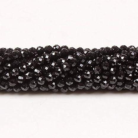 NO LOGO FDCW Bhd 2mm 3mm Natural Tallado Redondo Negro Espinela de Piedras Preciosas Perlas Sueltas de Piedra Accesorios de Bricolaje for la elaboración de Joyas de la Pulsera del Collar