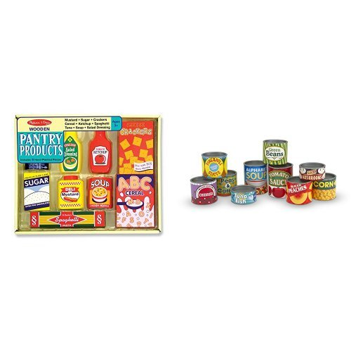 (Melissa & Doug Wooden Pantry Products and Let's Play House! Grocery Cans Bundle)