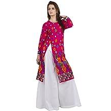Hazle Avenue Ethnicwear Round printed Full Sleeves Women's Kurti Dress (Large)