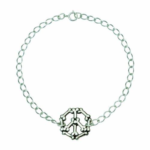 Rockin Doggie Sterling Silver Bracelet, Bones Peace Sign