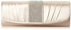 Jessica McClintock Pleated Rhinestone Evening Bag,Champagne,One Size