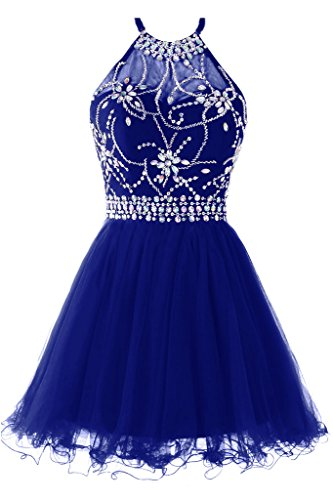Musever Women's Halter Short Homecoming Dress Beading Tulle Prom Dress Royal US 6 Sequins Halter Prom Formal Dress